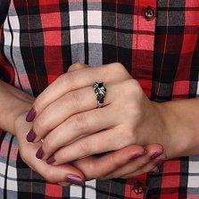 Кольцо Азалия из белого золота с сапфирами и бриллиантами