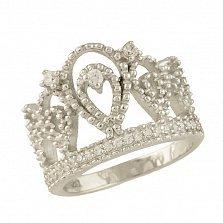 Серебряное кольцо Королева красоты с фианитами