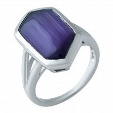 Серебряное кольцо Джайлин с фиолетовым кошачьим глазом