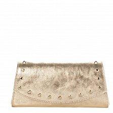 Кожаный клатч Genuine Leather 1692 золотистого цвета с декоративными элементами и цепочкой