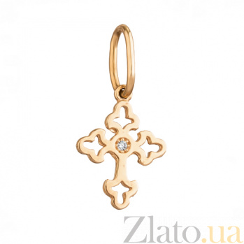 Декоративный золотой крестик с фианитом Ажур 54052