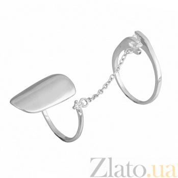 Кольцо-ноготь из серебра с фианитами Fashion element 000028088