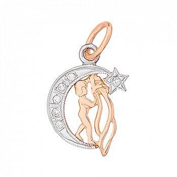 Золотий кулон знак Зодіаку Водолій на місяці з фіанітами 000013759