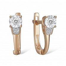 Золотые серьги с бриллиантами Пелагея