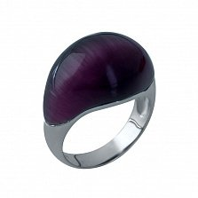 Серебряное кольцо Фирусит с фиолетовым кошачьим глазом
