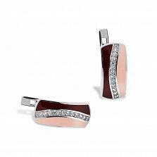 Серебряные серьги Пальмира с фианитами, коньячной и розовой эмалью