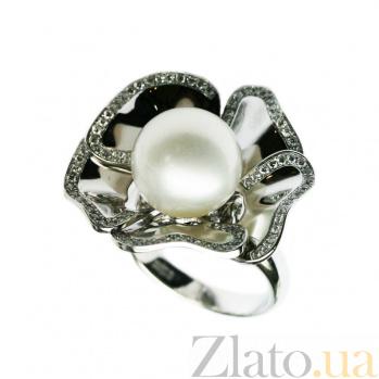 Золотое кольцо с жемчугом и бриллиантами Магнолия 1К033-0544