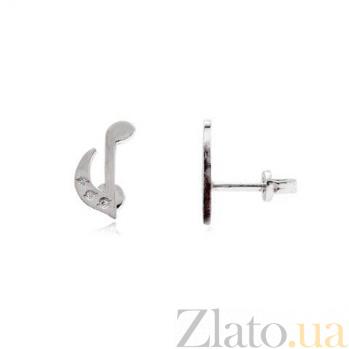 Серебряные серьги гвоздики Нота AQA--2327