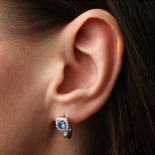 Серебряные серьги Дива с синими и белыми фианитами
