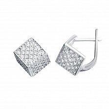 Серебряные серьги Куб с белыми фианитами