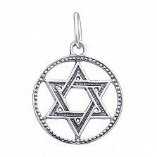 Серебряная подвеска Звезда Давида в фактурном круге