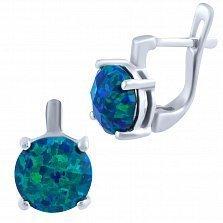 Серебряные серьги Вайолет с синим опалом