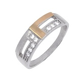 Серебряное кольцо с золотой вставкой и фианитами Лион