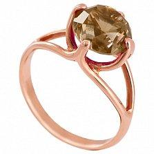 Золотое кольцо Жанна с гидротермальным раухтопазом