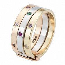 Золотое кольцо с фианитами Монте-Карло