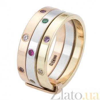 Золотое кольцо с фианитами Монте-Карло ONX--к02593