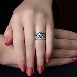 Серебряное кольцо Летний Орнамент с фианитами