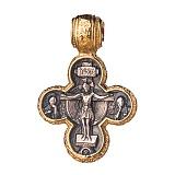 Серебряный крестик с чернением и позолотой Крещение