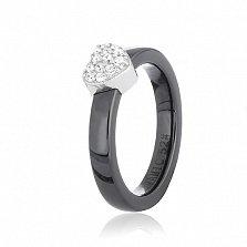 Серебряное кольцо Услада с черной керамикой и фианитами