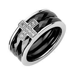 Серебряное кольцо Крестик с черной керамикой и фианитами