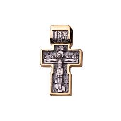 Серебряный крестик Господняя защита с чернением и позолотой 000091900