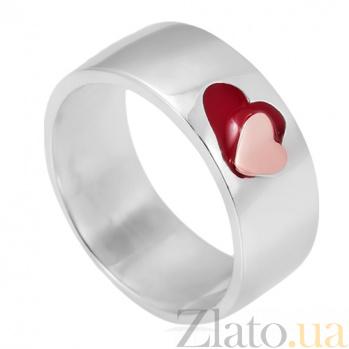 Серебряное кольцо с ювелирной эмалью Сердце Сердце к