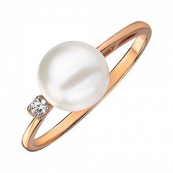 Кільце з червоного золота з перлами і цирконієм 000145536