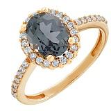 Золотое кольцо Альда с нанокристаллом карбона и фианитами