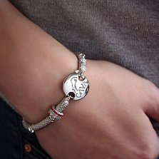 Серебряный браслет для шармов Зоркий орел с чёрными фианитами