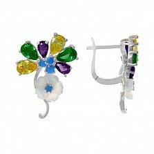 Серебряные серьги Цветочный сад с разноцветными фианитами и перламутром