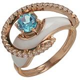 Золотое кольцо Роксана с топазом, фианитами и эмалью