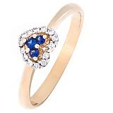 Золотое кольцо Сердечко с сапфирами и бриллиантами