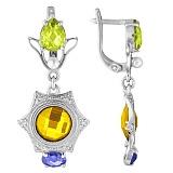 Серебряные серьги с желтыми фианитами Самоцветы