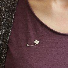 Серебряная булавка с цветной эмалью Кораблик