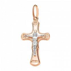 Золотой крестик в комбинированном цвете 000106459