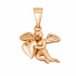 Золотой кулон Ангел с сердечком в красном цвете