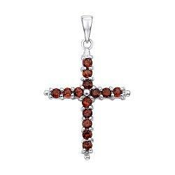 Декоративный серебряный крестик с гранатами и фианитами 000136964