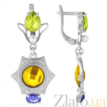 Серебряные серьги с желтыми фианитами Самоцветы TNG--430611С/желт