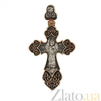 Золотой крестик с черным, белым родированием и эмалью Архангел VLT--КС3036-Э-1