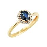 Золотое кольцо с сапфиром и бриллиантами Теплое море
