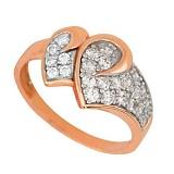 Золотое кольцо Два сердца с фианитами