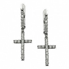Серебряные серьги-подвески Циркониевый крест