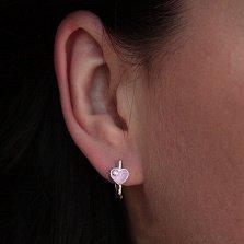 Серебряные серьги Сияние сердец с розовой эмалью и цирконием