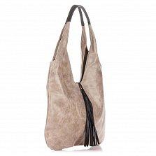 Кожаная сумка на каждый день Genuine Leather 7744 цвета тауп с черной декоративной кисточкой