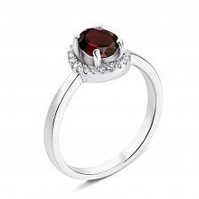 Серебряное кольцо с гранатом и фианитами 000135412
