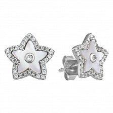 Серебряные серьги с фианитами и перламутром 000127349