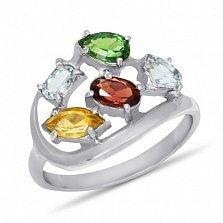 Кольцо из белого золота Дафна с синтезированным рубином, цитрином, топазом и изумрудом