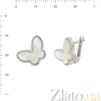 Серебряные серьги Легкость бабочки с белым перламутром 000081899