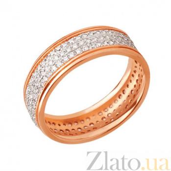 Обручальное кольцо из красного золота Дидилия с фианитами VLT--ТТ165-1