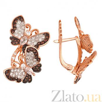 Серьги из красного золота Весенние бабочки с фианитами VLT--ТТ227-2